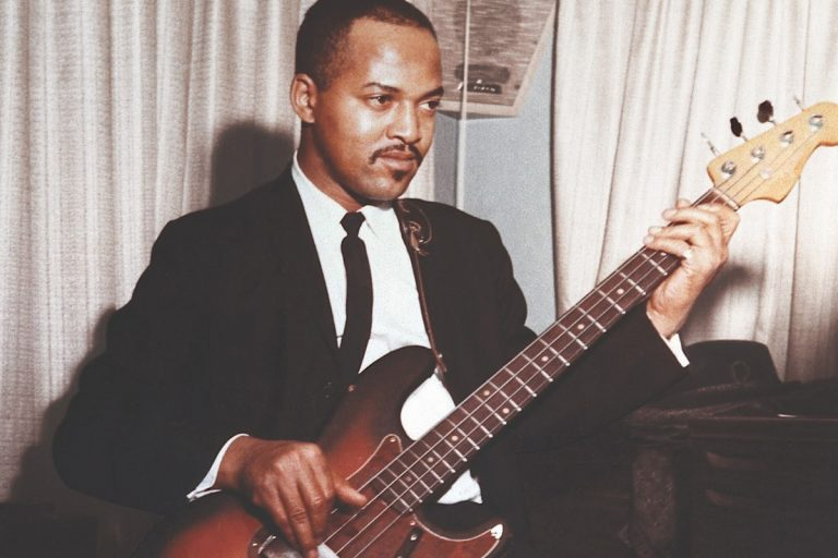 James Jamerson playing bass guitar